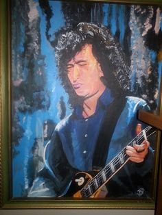 Jimmy Page during the Unledded show on canvas.  Work done by Bruce Schmalfuss