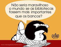 Bibliotecas e bancos - Mafalda