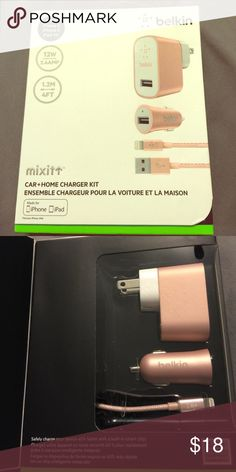 Belkin iPhone charging kit Brand new Belkin rose gold car and home charger for iPhone. Accessories