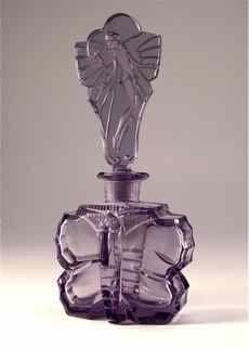 1920s Czech Perfume Bottle Purple Butterfly