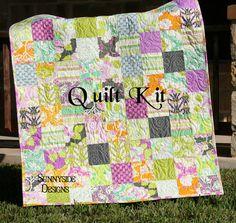 Lottie Da Quilt Kit, Baby Blanket Project, Heather Bailey, Modern Designer Crib Bedding, Purple Orange Grey Green, Sprig Free Spirit, DIY