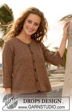 """DROPS jacket in stocking st with ¾ sleeves or long sleeves in """"Silke-Tweed"""". Size S - XXXL. ~ DROPS Design"""