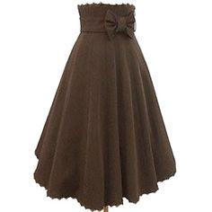 Tea-length Brown Cotton Casual Lolita Skirt – USD $ 79.99 (Briar Rose - black corset and beige top)