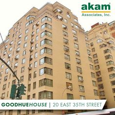 AKAM Associates is proud to be the managing agent of the Goodhue House, 20 East 35th Street. This stately pre-war building offers amenities such as a 24-hour doorman and bike room, and the spectacular views of the Empire State building are not to be missed. #AKAMLiving