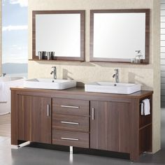 The Design Element Washington Double Bathroom Vanity Set is a wide piece with an angular design. This sleek free-standing vanity has. 72 Inch Bathroom Vanity, Double Sink Bathroom, Laundry In Bathroom, Modern Bathroom, Bathroom Vanities, Master Bathroom, Vessel Sink Vanity, Vanity Set With Mirror, Mirror Cabinets