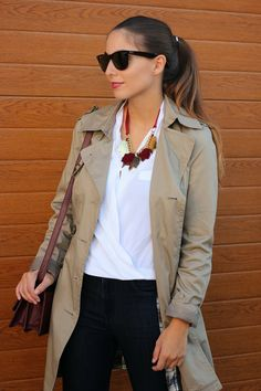 2013 Trench: Pull& bear /necklace: Papiroga/jeans & bag: Zara/booties: Purificación