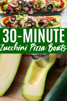 Zucchini Pizza Boats come together in just Fully loaded with sausage mushrooms peppers and olives its a lower-carb lower-calorie way to enjoy pizza and sneak some extra veggies into your diet. Zuchinni Pizza, Zucchini Pizza Boats, Zuchinni Recipes, Veggie Pizza, Mushroom Pizza, Mushroom Recipes, Pumpkin Recipes, Xmas Recipes, Baby Recipes