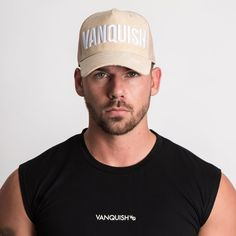 1141754ae872dd Vanquish Fitness 6 panel Suede Baseball Cap with metal VQ badge and  adjustable buckle back closure.
