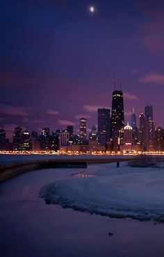 The Chicago skyline at night along the snowy, icy shore of Lake Michigan Bryce Canyon Utah, Hotel Packages, Valley Of Fire, Us Road Trip, Chicago Skyline, Hotels And Resorts, Luxury Hotels, Us National Parks, Paris Hotels