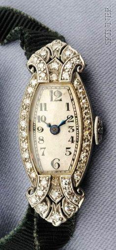 Art Deco Lady's Platinum and Diamond Wristwatch, Hayden W. Wheeler & Co., Inc