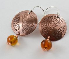 Etched Copper Earrings with Lampwork Beads by RoseMarysGlassArt