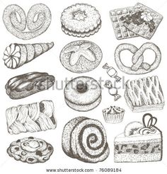 stock vector : Set of sweets hand drawn