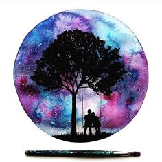 cute couple on swing under tree, galaxy sky painting in a circle – Today Pin – Galaxy Art Galaxy Painting, Sky Painting, Galaxy Art, Painting & Drawing, Couple Painting, Painting Inspiration, Art Inspo, Silhouette Painting, Tree Silhouette
