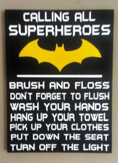 Batman, Attention all Superheroes bathroom rules, Wood Sign, Bathroom Decor… Batman Bathroom, Superhero Bathroom, Superhero Room, Bathroom Rules, Bathroom Kids, Diy Bathroom Decor, Bathrooms, Vinyl Signs, Wood Signs