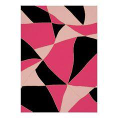 Motif au néon géométrique moderne de noir de rose poster