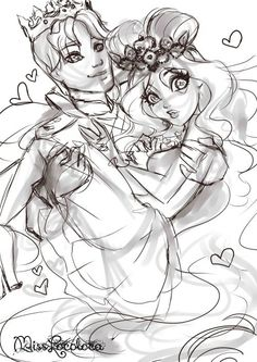 Prince Daring and Princess Lizzie Ever After High, Lizzie Hearts, Princesa Disney, Alice, Animation Series, Happily Ever After, Monster High, Cartoon Characters, Art Sketches