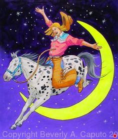 "Shes Over The Moon! #2 by Beverly Caputo Watercolor ~ 15"" x 11"""