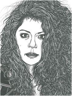 Sarah Manning, Orphan Black, Black Art, Fan Art, Tv, Drawing Drawing, Television Set, Dark Art, Television