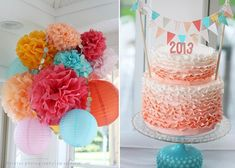 Party Cake Topper / Baby Shower Cake Topper Girl / Coral and Teal Baby Shower / Coral and Turquoise Wedding / Wedding Cake Topper - Decoration For Home Grad Parties, Birthday Parties, Graduation Party Planning, Graduation Ideas, Graduation Cake, Vintage Graduation Party Ideas, Graduation Centerpiece, Party Centerpieces, Centerpiece Ideas