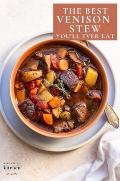 This scratch-made venison stew recipe is easy to make and the deer meat is fall-apart tender. It's packed with veggies and simple ingredients. Dairy Free Recipes, Paleo Recipes, Soup Recipes, Cooking Recipes, Gluten Free, Mince Recipes, Fruit Recipes, Crockpot Recipes, Deer Stew