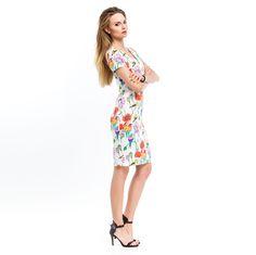 Sukienka damska w kolorowe kwiaty i ptaki