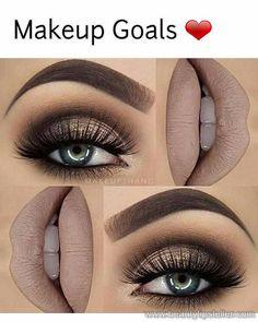 43986e952ce Gold And Brown Eye Makeup, Taupe Eye Makeup, Brown Makeup Looks, Day Eye