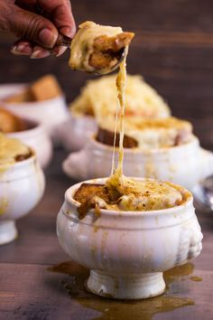 French onion soup with roasted garlic croutons: The ultimate comfort food!