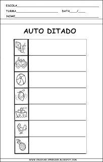 AUTO DITADOS E MODELOS DE FICHAS DE DITADO | Cantinho do Educador Infantil