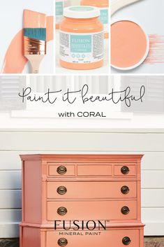 CORAL by Fusion Mineral Paint. Sunny and happy this flirty tone will make you smile. Easy Diy Projects, Home Projects, Furniture Makeover, Furniture Refinishing, Furniture Ideas, Color Of The Week, Transforming Furniture, Favorite Paint Colors, Mineral Paint