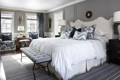 Upholstered Headboard and bench at end of bed