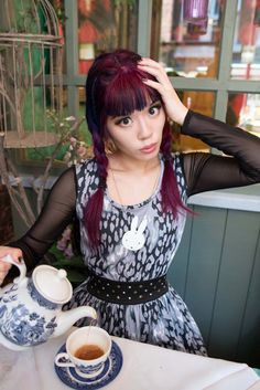 La Carmina has an Alice in Wonderland themed party, with high tea and snacks, at Richmond Tea Rooms in Manchester UK! More photos of her cute Goth Alice eye makeup and dress at http://www.lacarmina.com/blog/2015/07/alice-wonderland-tearoom-manchester-gay-district/  japanese alice wonderland fashion