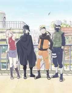 Team 7 Post War Sakura, Sasuke, Naruto and Kakashi Anime Naruto, Naruto Shippuden Sasuke, Naruto And Sasuke, Naruto Fan Art, Naruto Cute, Sakura And Sasuke, Sasunaru, Kakashi Sensei, Narusaku