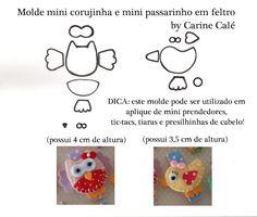 ARTE COM QUIANE - Paps,Moldes,E.V.A,Feltro,Costuras,Fofuchas 3D: Enfeite de cabelo Mini Corujinha e Passarinho com molde!