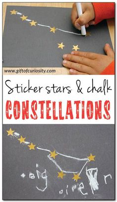 Sticker Stars & Chalk Constellations / A fun constellation craft for kids using gold stars and chalk on black paper. This craft builds constellation knowledge and supports the development of fine motor skills and spatial awareness. Space Preschool, Preschool Science, Science Activities, Preschool Activities, Outer Space Crafts For Kids, Space Activities For Kids, Space Theme For Toddlers, Space Kids, Constellation Craft