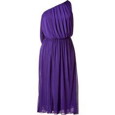Halston Purple One Shoulder Dress (3.195 DKK) ❤ liked on Polyvore featuring dresses, purple, purple dresses, one-sleeve dress, purple one shoulder cocktail dress, one shoulder dresses and faux-leather dress