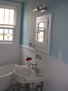 vintage bathroom, beadboard, blue walls #victorian #house #interior #bathroom #craftsman #small #old #vintage