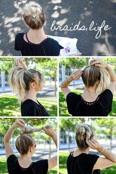 Very simple hairstyles Instructions: loose ballerina bun – Frisuren Five Minute Hairstyles, Very Easy Hairstyles, Elegant Hairstyles, Everyday Hairstyles, Straight Hairstyles, Casual Hairstyles, Cabelo Pin Up, Peinados Pin Up, Elegance Hair