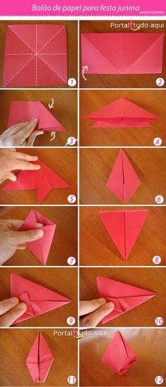 Festa Junina - 150 Incredible Ideas for Decoration Origami And Kirigami, Origami Paper Art, Diy Origami, Origami Tutorial, Diy And Crafts, Crafts For Kids, Arts And Crafts, Paper Crafts, Happy Party