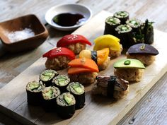 Vegetable Sushi Plate - Might be too healthy, but looks oddly delicious! Those allergic to fish would definitely enjoy this.