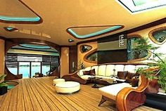 If I win the Mega Millions I'm so buying this. It's only $4,600,000.00 it's a luxury super yacht called the Osros Island, interior.