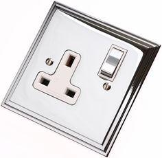 Edwardian Polished Chrome Plug Sockets