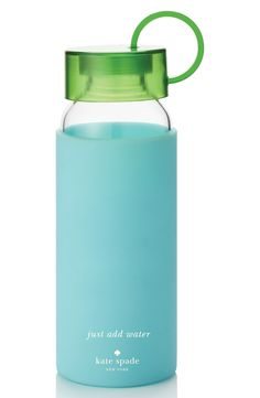 Staying hydrated with this cute blue and green water bottle by Kate Spade.