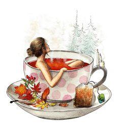 Tea Cup Art, Coffee Cup Art, Tea Cups, Autumn Illustration, Watercolor Illustration, Watercolor Art, Tea Cup Drawing, Tea And Books, Anime Art Girl