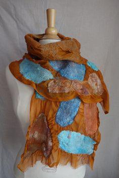 nuno felted scarf silk scarf textured scarf orange turquoise scarf nuno neck wrap light scarf