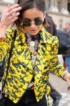 mira duma Foto-realistic flower Print biker jacket.