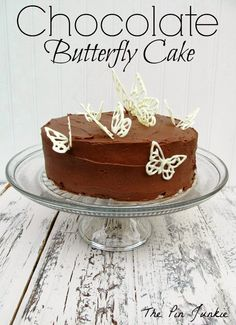 Chocolate Butterfly Cake - easy technique for making chocolate butterflies to dress up a boring boxed cake mix.