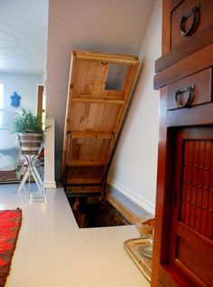 """Cat Door and Hatch door to """"kitty room"""" in the basement. (This would be so cool for access to a basement that isn't used much.)"""