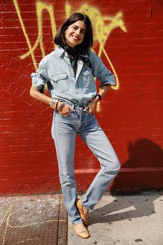OUTFIT | Chambray + Nude Ballet Flats via Leandra of Man Repeller