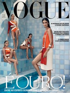 Caroline Ribeiro - Vogue Brazil, July 2016 ◄► with Lorena Molinos, Pamela Nogueira and Lara Teixeira, athletes of the Olympic national team of synchronized swimmers