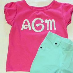Personalized Monogram Applique Shirt by SweetKsBoutique on Etsy